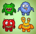 Four colorful funny monsters different emotions Royalty Free Stock Photos