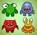 Four colorful funny monsters different emotions Stock Photography