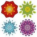 Four colorful mandalas