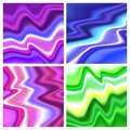 Four colorful marble striped texture. Abstract bright color splash background. Vector illustration, Great design element