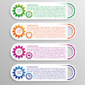 Four colorful options of infographics with gears for your design Stock Image