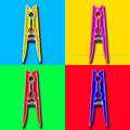 Four colorful psycho clothespin Royalty Free Stock Photo