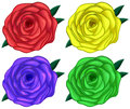 Four colorful roses illustration of the on a white background Stock Photography