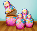 Four colorful russian dolls illustration of the Royalty Free Stock Photos
