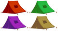 Four colorful tents illustration of the on a white background Royalty Free Stock Photos