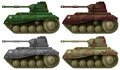 Four combat tanks illustration of the on a white background Stock Photo