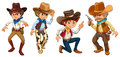 Four cowboys illustration of the on a white background Stock Photo