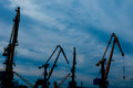 Four cranes at the port Royalty Free Stock Photography