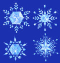 Four crystal snowflake Royalty Free Stock Photo