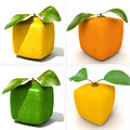 Four cubic fruits d rendering of a selection of Stock Photo