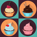 Four cupcakes, realistic vector illustration.
