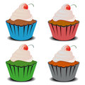 Four cupcakes vector illustration of with cream and cherry Stock Photography