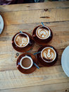Four cups of coffee Royalty Free Stock Photo