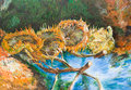 Four cut sunflowers vincent van gogh oil painting illustrating a replica of a famous painting made by Royalty Free Stock Photography