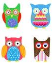Four cute owls cartoon art Royalty Free Stock Photos