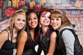 Four cute teens happy diverse group of female Royalty Free Stock Images