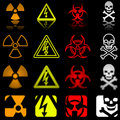 Four danger icons in various styles Stock Photos