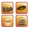 Four desserts different sweet dessert in orange squared backgrounds Stock Photo