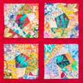 Four details of hand made patchwork quilt Royalty Free Stock Photo