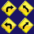 Four Diamond Shaped Yellow Glossy 3D road sign Stock Images