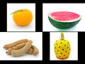 The four differance of fruit orange tamarind pineapple watermelon Stock Photo