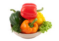 Four different bell peppers Royalty Free Stock Photography