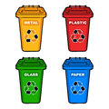 Four different colored recycling bins