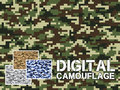 Four different colors digital camouflage military pattern for background, clothing, textile garment, wallpaper || Very easy to use Royalty Free Stock Photo