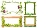 Four different designs of frames with green leaves Royalty Free Stock Photo