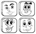 Four different faces inside the cubes illustration of on a white background Royalty Free Stock Photo