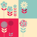 Four different floral graphic images Stock Image