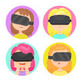 Four different girls in a virtual reality glasses.