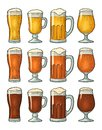 Four different glasses with three types beer. Vintage color engraving Royalty Free Stock Photo