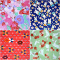 Four different kinds washi japanese paper patterns Royalty Free Stock Image