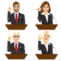 Four different politicians speaking on microphone Royalty Free Stock Photo
