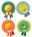 Four different rosette ribbon Royalty Free Stock Image