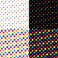 Four different seamless colorful polka dot patterns. Vector illustration.
