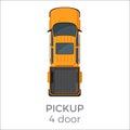 Four Door Pickup Top View Flat Vector Icon