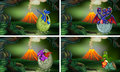 Four dragons hatching eggs in forest