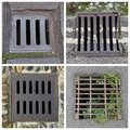 four drains collage Royalty Free Stock Photo