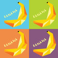 Four drawings bananas in the style of popart for flyers and print card or banner with the angular lettering Stock Photos