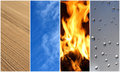 Four elements. Earth, air, fire, water. Stock Photos