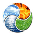 Four Elements forming Yin and Yang Royalty Free Stock Photo
