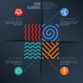 Vector infographics template. Four elements illustration and environmental, ecology icons on black background. Royalty Free Stock Photo