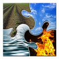 Four elements in a twisted puzzle Stock Photo
