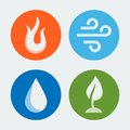 Four elements vector icons set Royalty Free Stock Images