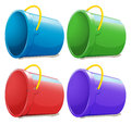 Four empty pails illustration of the on a white background Royalty Free Stock Photo