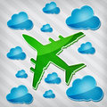 Four-engine jet airliner in air with blue cloud Royalty Free Stock Photo