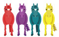 Four fantasy horses illustration of colourful with white background Stock Image