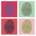 Four fingerprints in pop-art Stock Images